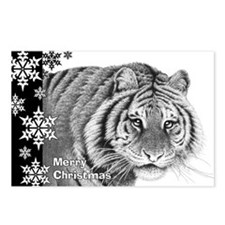 Siberian Tiger Christmas  Postcards (Package of 8)
