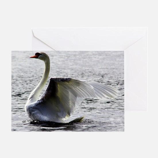 Swan Calendar January Greeting Card