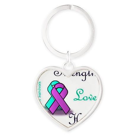 Strength Love Hope Heart Keychain