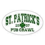 St. Pat's Pub Crawl Distressed Oval Sticker