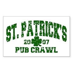 St. Pat's Pub Crawl Distressed Sticker (Rectangula
