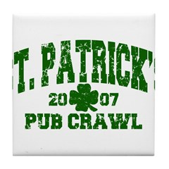 St. Pat's Pub Crawl Distressed Tile Coaster