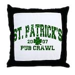 St. Pat's Pub Crawl Distressed Throw Pillow