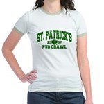 St. Pat's Pub Crawl Distressed Jr. Ringer T-Shirt