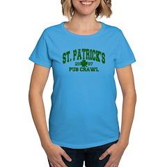 St. Pat's Pub Crawl Distressed Women's Dark T-Shir