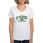 St. Pat's Pub Crawl Distressed Women's V-Neck T-Sh