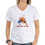 Firecracker 4th Women's V-Neck T-Shirt
