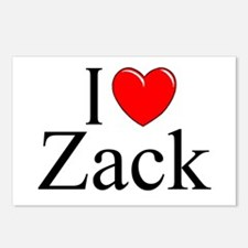 """""""I Love (Heart) Zack"""" Postcards (Package of 8)"""