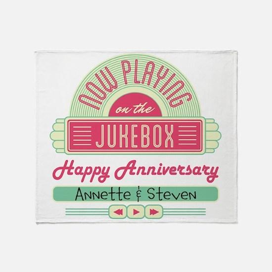 Personalized Anniversary Retro Jukebox Throw Blank