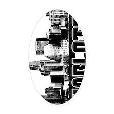 Charlotte Skyline V Oval Car Magnet