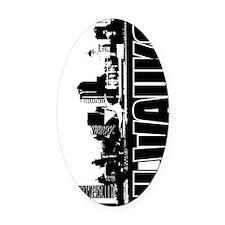 Milwaukee Skyline V Oval Car Magnet