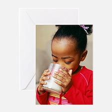 Girl drinking milk Greeting Card
