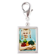 Girl holding fruit and veget Silver Portrait Charm