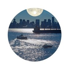 Full Moon over Vancouver Round Ornament