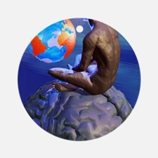 Global thought, conceptual artwork Round Ornament