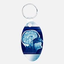 Healthy brain, MRI scan Keychains
