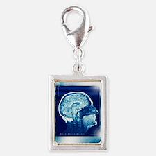 Healthy brain, MRI scan Silver Portrait Charm