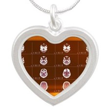 Head, CT scans Silver Heart Necklace