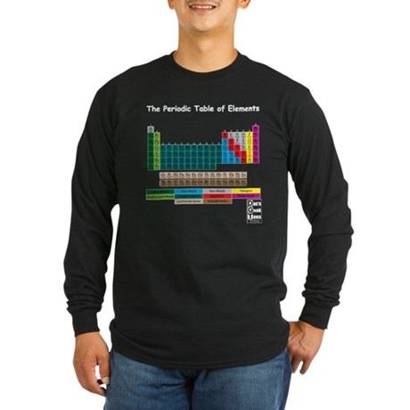Color Coded Periodic Table Long Sleeve Dark T-Shir