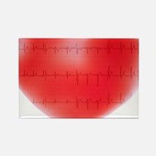 Heart and ECG Rectangle Magnet