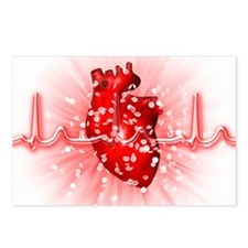Heart and ECG Postcards (Package of 8)