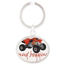 Mud Bogging ATV Oval Keychain