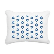 MDDuvetQueenWhiteMedBlue Rectangular Canvas Pillow
