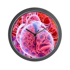 Heart and red blood cells, artwork Wall Clock