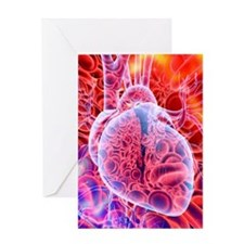 Heart and red blood cells, artwork Greeting Card
