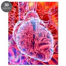 Heart and red blood cells, artwork Puzzle