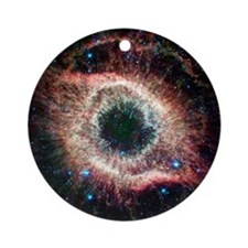 Helix nebula, infrared Spitzer imag Round Ornament