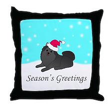 Black Pomeranian Throw Pillow