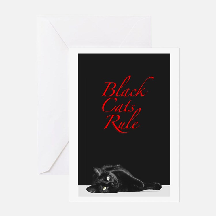 Black Cats Rule 2 Greeting Card