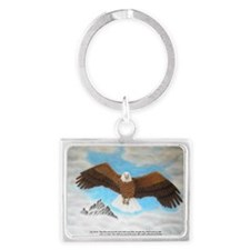 Eagle with Scripture Landscape Keychain