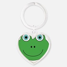 cute green frog face Heart Keychain