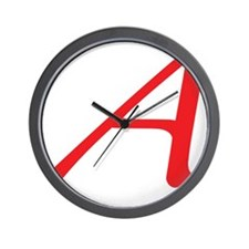 Atheism Scarlet Letter A Symbol Wall Clock