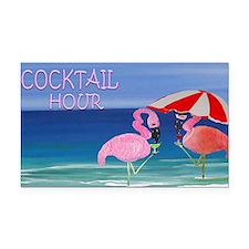 Flamingo Cocktail Hour Rectangle Car Magnet