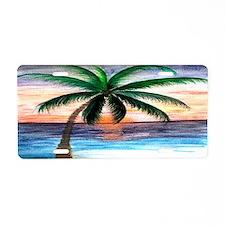 Sunset Palm Tree Art Aluminum License Plate