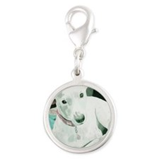note Silver Round Charm
