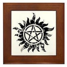 Cracked Anti-Possession Symbol Black Framed Tile
