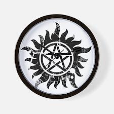 Cracked Anti-Possession Symbol Black Wall Clock