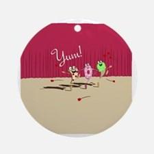 pizza n pals plate2 Round Ornament