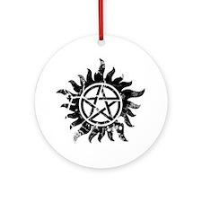 Cracked Anti-Possession Symbol Blac Round Ornament