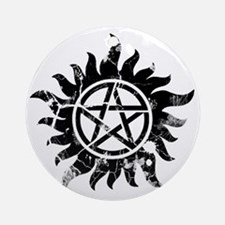 Cracked Anti-Possession Symbol Blac Round Ornament