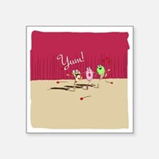 """pizza n pals plate2 Square Sticker 3"""" x 3"""""""