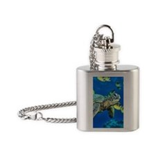 green sea turtle Flask Necklace