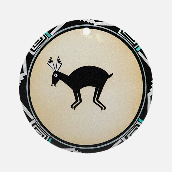 MIMBRES BLACK JACK RABBIT BOWL Ornament (Round)