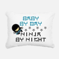 Baby Ninja Blue Rectangular Canvas Pillow