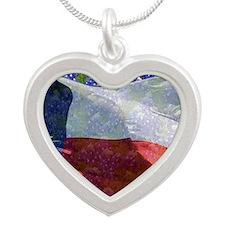 Texas flag bluebonnet card Silver Heart Necklace