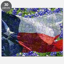 Texas flag bluebonnet card Puzzle
